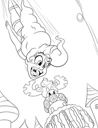 Size: 4320x5587   Tagged: safe, artist:tubbytoon, pinkie pie, human, mmmystery on the friendship express, season 2, absurd resolution, cake, canterlot, clothes, eating, food, humanized, jumping, marzipan mascarpone meringue madness, monochrome, scene interpretation, shorts, this will end in weight gain
