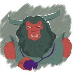 Size: 875x913   Tagged: safe, artist:jinbesan, tirek (g1), centaur, demon, g1, rescue at midnight castle, bust, male, solo, tirac's bag