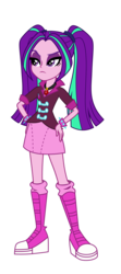 Size: 1200x2700 | Tagged: aria blaze, artist:traachon, boots, clothes, clothes swap, derpibooru exclusive, equestria girls, female, frown, gem, hand on hip, jewelry, miniskirt, pendant, pigtails, safe, shoes, simple background, siren gem, skirt, socks, solo, sonata dusk, transparent background, twintails, vector