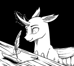 Size: 1336x1200 | Tagged: artist:28gooddays, black and white, changedling, changedling oc, changeling, changeling oc, fanfic art, grayscale, monochrome, oc, oc:vertexthechangeling, quill, safe, solo, writing, writing desk (furniture)