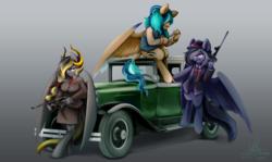 Size: 1280x761 | Tagged: safe, artist:chirpy-chi, oc, oc:mitternacht von kloudette, oc:sapphire breeze, oc:sona, pegasus, anthro, unguligrade anthro, 1920s, bottomless, car, clothes, grin, gun, jacket, knife, leonine tail, mafia, partial nudity, smiling, smirk, suit, tommy gun, weapon