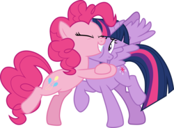 Size: 4068x3000 | Tagged: .ai available, alicorn, artist:cloudyglow, artist:yanoda, clone, duo, earth pony, eyes closed, female, mare, pinkie pie, pony, raised hoof, safe, simple background, smiling, the mean 6, transparent background, twilight sparkle, twilight sparkle (alicorn), vector
