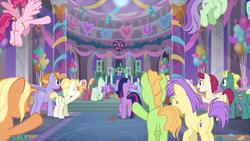 Size: 1280x720 | Tagged: safe, screencap, amber grain, auburn vision, berry sweet, bifröst, citrus bit, end zone, fire flicker, fuchsia frost, gooseberry, november rain, ocarina green, peppe ronnie, spike, sugar maple, summer breeze, twilight sparkle, violet twirl, alicorn, earth pony, pegasus, pony, she's all yak, animation error, background pony, female, friendship student, male, mare, school of friendship, stallion, twilight sparkle (alicorn)