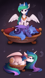 Size: 1500x2568 | Tagged: safe, artist:yakovlev-vad, princess celestia, princess luna, alicorn, butterfly, pony, ..., :<, :t, angry, annoyed, bed, behaving like a cat, behaving like a dog, celestia is not amused, chest fluff, crescent moon, cute, cutelestia, cutie mark, ear fluff, exclamation point, eye clipping through hair, eyes closed, female, floppy ears, flower, fluffy, frown, funny, glare, gray background, grumpy, hilarious, hnnng, if i fits i sits, interrobang, jewelry, leg fluff, lunabetes, madorable, mare, messy mane, missing accessory, moon, neck fluff, night, peeved, peytral, ponyloaf, prone, question mark, royal sisters, s1 luna, shoulder fluff, simple background, sisters, sitting, sleeping, small, smiling, spread wings, stars, sunflower, sweet dreams fuel, this will end in tears and/or a journey to the moon, unamused, wall of tags, wing fluff, wings