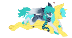 Size: 2016x1065 | Tagged: safe, artist:requiem♥, oc, oc only, oc:liekosy, oc:nayhade, pegasus, pony, blue eyes, blue mane, blue tail, cheek fluff, clothes, coat markings, colored hooves, commission, cute, cutie mark, ear fluff, female, fluffy, grey fur, heart, hooves, long mane, long tail, male, oc x oc, scarf, shipping, simple background, smile face, smiling, straight, tail wrap, transparent background, underhoof, white fur, wings, ych result, yellow fur