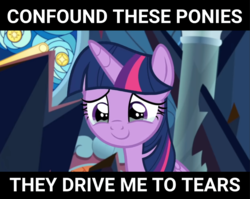 Size: 3547x2827 | Tagged: safe, artist:ponyarchives, edit, edited screencap, screencap, twilight sparkle, alicorn, pony, season 9, spoiler:s09, bittersweet, c:, caption, confound these ponies, crying, cute, female, happy, image macro, lidded eyes, looking at you, looking down, mare, meme, smiling, solo, subverted meme, tears of joy, teary eyes, text, thank you, thank you lauren, trailer, twiabetes, twilight sparkle (alicorn)