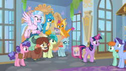 Size: 1600x900 | Tagged: safe, screencap, gallus, november rain, ocellus, peppermint goldylinks, sandbar, silverstream, smolder, twilight sparkle, yona, alicorn, changedling, changeling, classical hippogriff, dragon, earth pony, hippogriff, pegasus, pony, unicorn, yak, season 9, she's all yak, background pony, cloven hooves, dragoness, female, friendship student, male, mare, ponies standing next to each other, stallion, student six, twilight sparkle (alicorn)