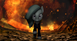 Size: 4096x2160 | Tagged: 3d, artist:awgear, clothes, doctor who, explosion, fire, gray coat, gray mane, grey coat, looking at you, marble pie, pony, purple eyes, reference, running, safe, source filmmaker, tunnel, tv reference, wide eyes