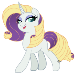 Size: 1280x1259 | Tagged: artist:dianamur, blonde hair, blue eyes, curly hair, eyeshadow, female, horn, makeup, mare, next generation, nextgen:sinverse, oc, oc only, oc:uptown chic, offspring, parent:rarity, parents:zephyrity, parent:zephyr breeze, pony, purple hair, safe, sassy, solo, unicorn, white fur