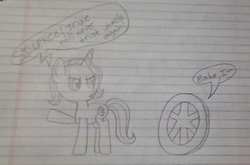 Size: 709x467 | Tagged: safe, artist:nightshadowmlp, trixie, pony, unicorn, don't trust wheels, female, lined paper, mare, third person, traditional art, wheel, wheels trixie