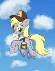 Size: 2000x2600 | Tagged: artist:litrojia, bag, cloud, cute, derpabetes, derpy hooves, dock, female, floppy ears, flying, hat, letter, looking at you, looking back, mailbag, mailmare, mailmare hat, mare, mouth hold, pegasus, plot, pony, saddle bag, safe, sky, smiling, solo, spread wings, :t, underhoof, wings