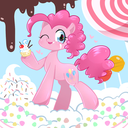 Size: 1000x1000 | Tagged: safe, artist:anko, pinkie pie, earth pony, pony, :p, candy, cherry, cupcake, cute, diapinkes, female, food, heart, heart eyes, lollipop, mare, one eye closed, pixiv, silly, solo, sprinkles, tongue out, whipped cream, wingding eyes, wink