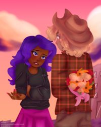 Size: 1280x1600 | Tagged: applejack, arms behind back, artist:powerponiez, cowboy hat, cute, daaaaaaaaaaaw, dark skin, female, flannel, flower, hands behind back, hat, human, humanized, jackabetes, lesbian, raribetes, rarijack, rarity, safe, shipping