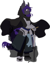 Size: 795x1005 | Tagged: anthro, anthro oc, armor, artist:kagugle, bat pony, bat pony oc, darkness, dark souls, dark souls 3, elementbrigade, fanfic art, female, hooded cape, katana, oc, oc:knight watch, safe, solo, sword, weapon