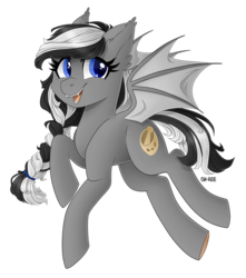 Size: 2293x2589 | Tagged: artist:sk-ree, bat pony, bat pony oc, commission, female, mare, oc, oc:moonlight song, open mouth, pony, safe, simple background, smiling, solo, transparent background