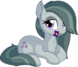 Size: 7073x6081 | Tagged: absurd res, artist:cyanlightning, chest fluff, cute, ear fluff, earth pony, female, flower, lidded eyes, looking at you, marblebetes, marble pie, mare, mouth hold, pony, prone, safe, simple background, sitting, solo, .svg available, transparent background, vector