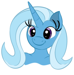Size: 1129x1151 | Tagged: safe, artist:skyspeardraw, trixie, anthro, unicorn, alternate hairstyle, bust, c:, inspired drawing, long eyelashes, long horn, smiling