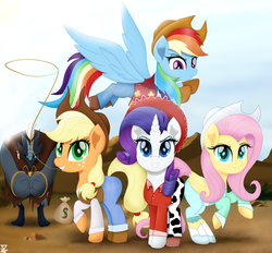 Size: 5990x5547 | Tagged: absurd res, applejack, artist:theretroart88, bag, boots, clothes, cowboy hat, cowgirl, cowgirl outfit, earth pony, female, fluttershy, freckles, hat, looking at you, mare, movie accurate, pants, pegasus, pony, rainbow dash, raised hoof, rarity, rope, safe, shoes, smiling, stetson, storm guard, unicorn