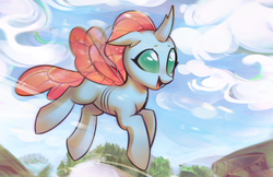 Size: 3402x2206 | Tagged: artist:mirroredsea, changedling, changeling, cloud, commission, cute, diaocelles, female, floppy ears, flying, forest, happy, motion blur, mountain, ocellus, open mouth, safe, scenery, sky, smiling, solo, spread wings, tree, wind, wings