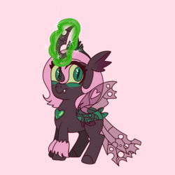 Size: 768x768 | Tagged: artist:awoomarblesoda, changepony, female, hybrid, interspecies offspring, magic, magical lesbian spawn, oc, oc:yearning desire, offspring, parent:oc:fluffle puff, parent:queen chrysalis, parents:canon x oc, parents:chrysipuff, pink background, safe, simple background, solo