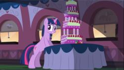 Size: 1669x942   Tagged: safe, screencap, twilight sparkle, pony, unicorn, mmmystery on the friendship express, bipedal, bipedal leaning, bite mark, cake, female, food, leaning, mare, marzipan mascarpone meringue madness, solo, unicorn twilight