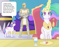 Size: 1563x1250 | Tagged: alicorn, armor, artist:arareroll, cake, dark souls, eating, edit, female, food, fork, glowing horn, human, knight, magic, princess celestia, princess flurry heart, safe, smiling, speech bubble