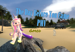 Size: 856x600 | Tagged: 3d, artist:didgereethebrony, beach, gmod, pony, princess cadance, safe, shining armor, text, thumbnail, transparent, youtube link