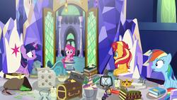 Size: 1920x1080 | Tagged: safe, screencap, boneless, mr. turnip, pinkie pie, rainbow dash, sci-twi, sunset shimmer, twilight sparkle, alicorn, earth pony, pegasus, pony, unicorn, equestria girls, equestria girls series, spring breakdown, spoiler:eqg series (season 2), alicorn amulet, book, candle, chest, crown, crown of grover, cutie map, dice, equestria girls ponified, feather, friendship throne, glowpaz, jewelry, knuckerbocker's shell, lantern, quill, regalia, rubber duck, scroll, shell, talisman of mirage, twilight sparkle (alicorn), unicorn sci-twi