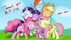 Size: 2560x1440 | Tagged: applejack, artist:bluemeganium, cuddling, dragon, earth pony, end of ponies, eyes closed, female, fluttershy, group hug, happy, hug, mane seven, mane six, mare, outdoors, pegasus, pinkie pie, pony, rainbow dash, rarity, safe, smiling, spike, thank you, twilight sparkle, unicorn