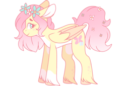 Size: 3000x2048 | Tagged: safe, artist:cinnamontee, fluttershy, pegasus, pony, alternate design, female, floppy ears, floral head wreath, flower, flower in tail, folded wings, looking at you, mare, pale belly, profile, short mane, simple background, smiling, socks (coat marking), solo, standing, transparent background, two toned wings, unshorn fetlocks, wings