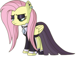 Size: 5000x3796 | Tagged: artist:n0kkun, black dress, clothes, dress, ear piercing, fake it 'til you make it, female, fluttergoth, fluttershy, folded wings, lidded eyes, looking down, mare, pegasus, piercing, png, pony, safe, simple background, solo, three quarter view, transparent background, vector, wings