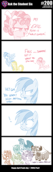 Size: 800x2570 | Tagged: safe, artist:sintakhra, cozy glow, fluttershy, gallus, ocellus, rainbow dash, sandbar, silverstream, smolder, yona, changedling, changeling, dragon, earth pony, griffon, hippogriff, pegasus, pony, yak, tumblr:studentsix, april fools, description is relevant, dragoness, female, mane swap, moral event horizon, partial color, pure concentrated unfiltered evil of the utmost potency, pure unfiltered evil, shampoo, stair keychain, student six, wig