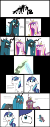 Size: 4272x10752 | Tagged: artist:mr100dragon100, broken english, changeling, changelingified, chrysarmordance, comic, female, floppy ears, hug, hug sandwich, male, polyamory, ponified, pony, princess cadance, queen chrysalis, safe, shining armor, shipping, species swap, straight