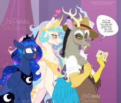 Size: 2000x1707 | Tagged: safe, artist:stepandy, discord, princess celestia, princess luna, alicorn, draconequus, pony, the beginning of the end, bedroom eyes, blushing, chest fluff, clothes, confused, crown, dislestia, ear fluff, ethereal mane, eyebrows, eyeshadow, female, fluffy, hat, heart, jewelry, lidded eyes, lightly watermarked, looking at each other, makeup, male, mare, neck fluff, notebook, notepad, pencil, press hat, raised eyebrow, regalia, reporter, romance, scene interpretation, shipping, shocked, smiling, smirk, sparkles, speech bubble, starry mane, straight, sweat, sweatdrop, trio, watermark, wide eyes, wing fluff