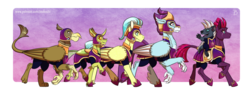 Size: 2000x744 | Tagged: safe, artist:inuhoshi-to-darkpen, fizzlepop berrytwist, gaston (griffon), grubber, stratus skyranger, tempest shadow, oc, oc:citrine cloud, oc:maxilla, changedling, changeling, classical hippogriff, crystal pony, griffon, hippogriff, pegasus, pony, unicorn, my little pony: the movie, armor, broken horn, female, helmet, hoof shoes, horn, leonine tail, male, marching, mare, realistic horse legs, riding, royal guard, royal guard armor, signature, stallion, tempest becomes a royal guard, twilight's royal guard