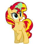 Size: 770x850 | Tagged: safe, artist:thunder-blur, sunset shimmer, pony, unicorn, cute, female, glowing horn, horn, magic, mare, open mouth, raised hoof, shimmerbetes, smiling, solo