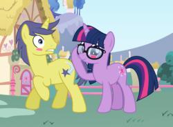Size: 2936x2160 | Tagged: safe, artist:3d4d, comet tail, sci-twi, twilight sparkle, pony, unicorn, equestria girls, blushing, cometlight, equestria girls ponified, female, glasses, male, mare, shipping, stallion, straight, unicorn sci-twi