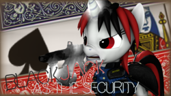 Size: 3840x2160 | Tagged: 3d, ace of spades, angry, artist:awgear, black and red mane, borderlands, borderlands 2, card, fallout, fallout equestria, fallout equestria: project horizons, gun, levitation, magic, oc, oc:blackjack, playing card, pony, queen of spades, red and black mane, red eyes, safe, security, security armor, security guard, shotgun, source filmmaker, telekinesis, unicorn, weapon, white coat