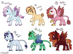 Size: 2051x1524 | Tagged: alicorn, artist:misskanabelle, blank flank, bowtie, changepony, classical hippogriff, earth pony, hippogriff, hybrid, interspecies offspring, magical lesbian spawn, oc, oc only, offspring, parent:applejack, parent:big macintosh, parent:cherry jubilee, parent:fancypants, parent:fluttershy, parent:gilda, parent:pinkie pie, parent:princess ember, parent:princess luna, parent:rainbow dash, parent:rarity, parents:cherryjack, parents:embrax, parents:flutterdash, parents:gildapie, parents:lunamac, parents:raripants, parent:thorax, pegasus, raised hoof, safe