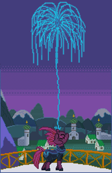 Size: 495x762 | Tagged: armor, artist:8-bitbrony, balcony, broken horn, eyes closed, female, fireworks, fizzlepop berrytwist, floppy ears, hoof shoes, horn, magic, mare, my little pony: the movie, night, pixel art, pony, redemption, safe, sky, solo, tempest shadow, unicorn