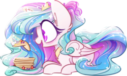 Size: 836x500 | Tagged: alicorn, artist:loneless-art, blueberry, blushing, chest fluff, chibi, colored pupils, cute, cutelestia, ear fluff, ethereal mane, eyes on the prize, female, food, fork, glowing horn, happy, levitation, long mane, magic, mare, missing accessory, open mouth, pancakes, pony, princess celestia, prone, safe, shiny, shoulder fluff, simple background, smiling, solo, sparkles, starry mane, strawberry, telekinesis, transparent background, whipped cream