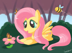 Size: 1024x745 | Tagged: safe, artist:domestic-hedgehog, fluttershy, bee, butterfly, pegasus, pony, bush, cute, female, flower, grass, lying down, mare, open mouth, shyabetes, sky, smiling, tree, wings