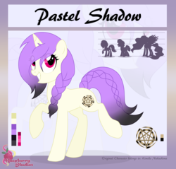 Size: 2622x2509 | Tagged: safe, artist:raspberrystudios, oc, oc only, oc:pastel shadow, pony, unicorn, braid, commission, cutie mark, height difference, reference sheet