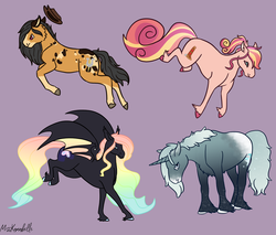 Size: 2634x2244 | Tagged: safe, artist:misskanabelle, oc, oc only, oc:dusty hooves, oc:moondancer, oc:sundance, oc:winter wonder, bat pony, earth pony, pony, unicorn, bat pony oc, female, magical lesbian spawn, male, mare, offspring, parent:big macintosh, parent:daring do, parent:fluttershy, parent:king sombra, parent:princess luna, parent:rainbow dash, parent:sunset shimmer, parent:trixie, parents:daringdash, parents:fluttermac, parents:lumbra, parents:suntrix, purple background, rainbow hair, simple background, stallion, unshorn fetlocks