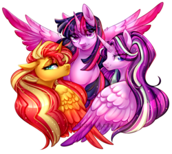 Size: 1000x896 | Tagged: alicorn, alicornified, artist:naughty-savage, best friends, bust, magical quartet, magical quintet, magical trio, pony, race swap, safe, shimmercorn, signature, simple background, smiling, sparkles, spread wings, starlicorn, starlight glimmer, sunset shimmer, transparent background, trixie, twilight sparkle, twilight sparkle (alicorn), wings, xk-class end-of-the-world scenario