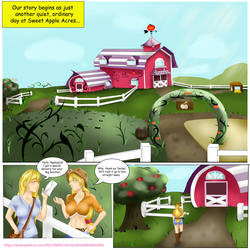 Size: 5000x4992 | Tagged: absurd res, applejack, artist:wild stallions, barn, big breasts, breasts, busty applejack, busty derpy hooves, clothes, cloud, comic:letter for big mac, comic:letter for big mac. vol. 1, derpy hooves, explicit source, fence, huge breasts, human, humanized, letter, midriff, my little porno: friendship with benefits, patreon, safe, speech bubble, sweet apple acres, text box, tree