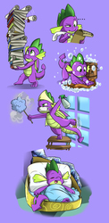 Size: 2082x4270 | Tagged: safe, artist:caligomwknight, spike, dragon, ..., :t, assistant, baby, baby dragon, balancing, basket bed, blanket, book, bottle, bubble, bucket, carrying, cleaning, cute, dust, duster, eyes closed, glare, gradient background, gritted teeth, looking up, male, multitasking, music notes, number one assistant, on back, one eye closed, open mouth, pillow, purple background, quill pen, raised eyebrow, scroll, scrubbing, simple background, sleeping, smiling, soap bubble, spikabetes, spray bottle, sweatdrop, thinking, washing, window, window washing, winged spike, wings, wink, writing