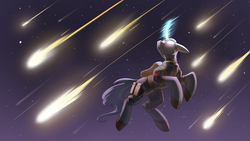 Size: 3840x2160 | Tagged: safe, artist:underpable, oc, oc only, oc:flint, pony, unicorn, clothes, falling star, glowing eyes, high res, magic, night, solo, stars