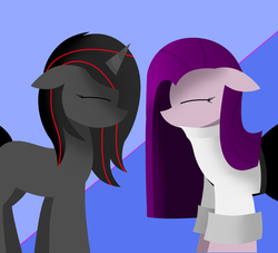 Size: 2200x2000   Tagged: safe, artist:visionwing, oc, oc:luminous siren, oc:visionmena, pony, colored background, eyes closed, happy, side view