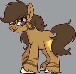 Size: 1446x1408 | Tagged: artist:binkyt11, derpibooru exclusive, female, freckles, glasses, gray background, hybrid, mare, medibang paint, oc, oc:binky, oc only, phone drawing, pony, safe, shy, simple background, solo, unshorn fetlocks, zony